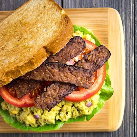Vegan BLT Sandwich with avocado chickpea mash