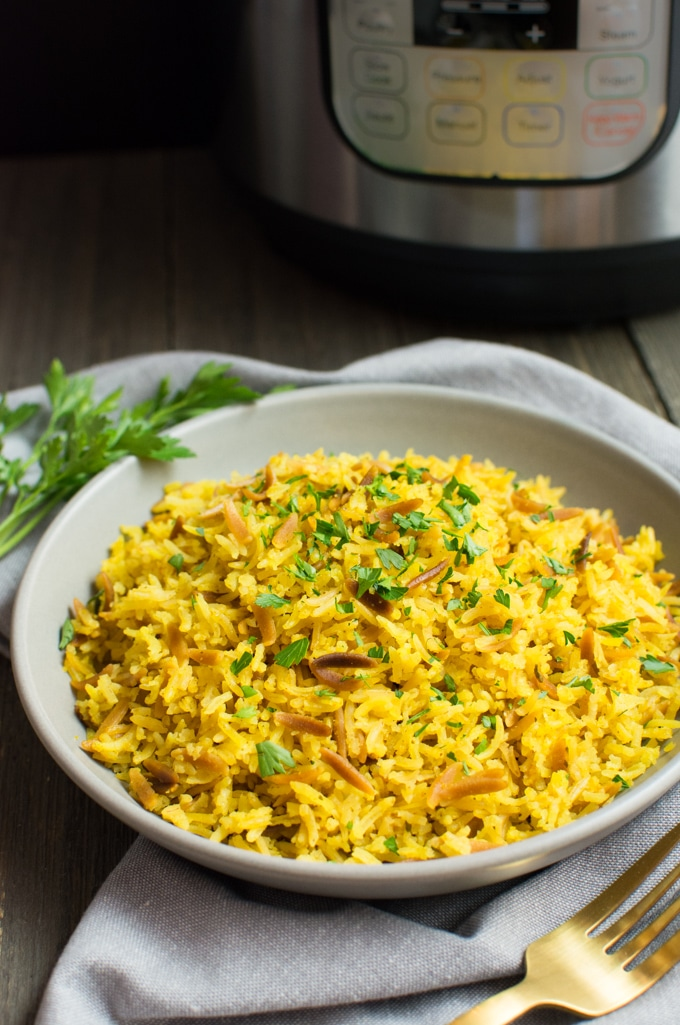 Rice pilaf made in the Instant-Pot.