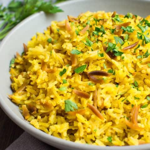 Instant-Pot rice pilaf close up image.