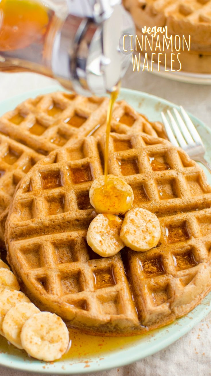 Cinnamon vegan waffles are the perfect breakfast, brunch or dessert.  This easy recipe is made with only 6 ingredients you'll likely have on hand.  Make some this weekend and watch them quickly disappear!  #veganwaffles #veganrecipe #vegan #cinnamonwaffles #brunch #veganbreakfast #eggfreewaffles #eggfree #dairyfree