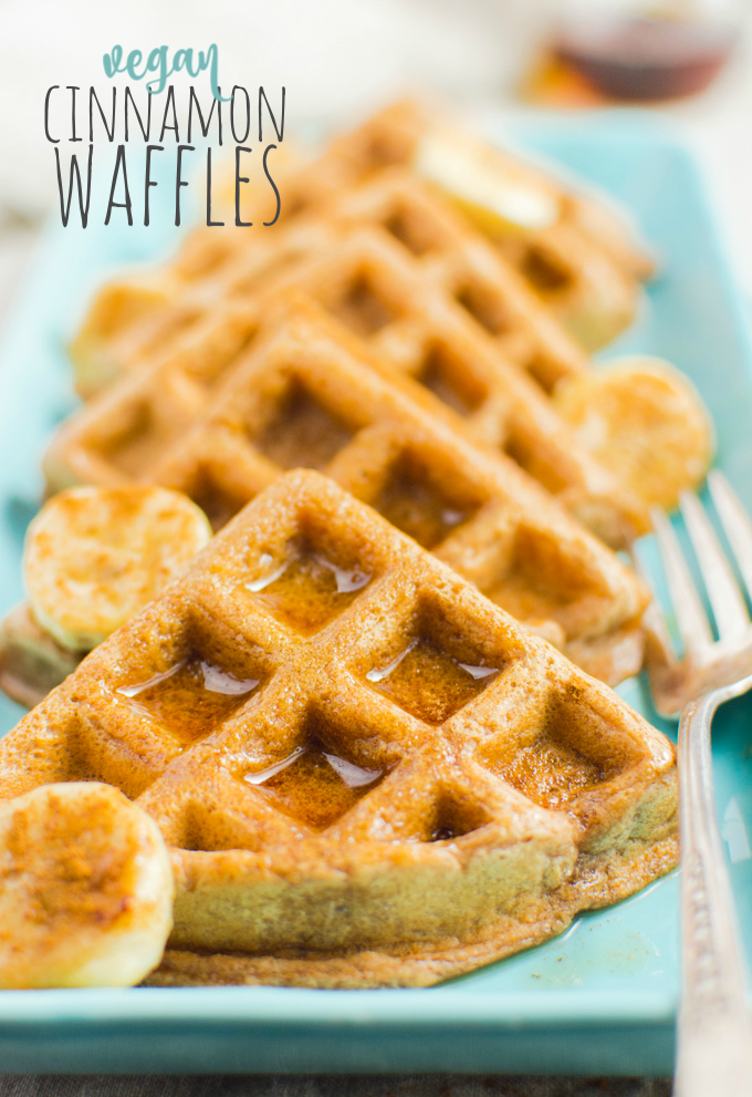 Cinnamon Vegan waffles drizzled with maple syrup pin.