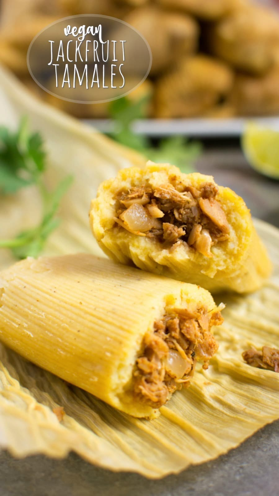 Homemade jackfruit vegan tamales are easier to make than you may think.  This step-by-step recipe will guide you through the tamale making process with ease.  So you'll be enjoying flavorful vegan tamales in no time!  Steam them in the Instant-Pot or on the stovetop.  Instructions for both are included!  #vegan #vegantamales #glutenfree #jackfruit #veganrecipe #mexicanfood #vegandinner #meatless #meatlessmonday