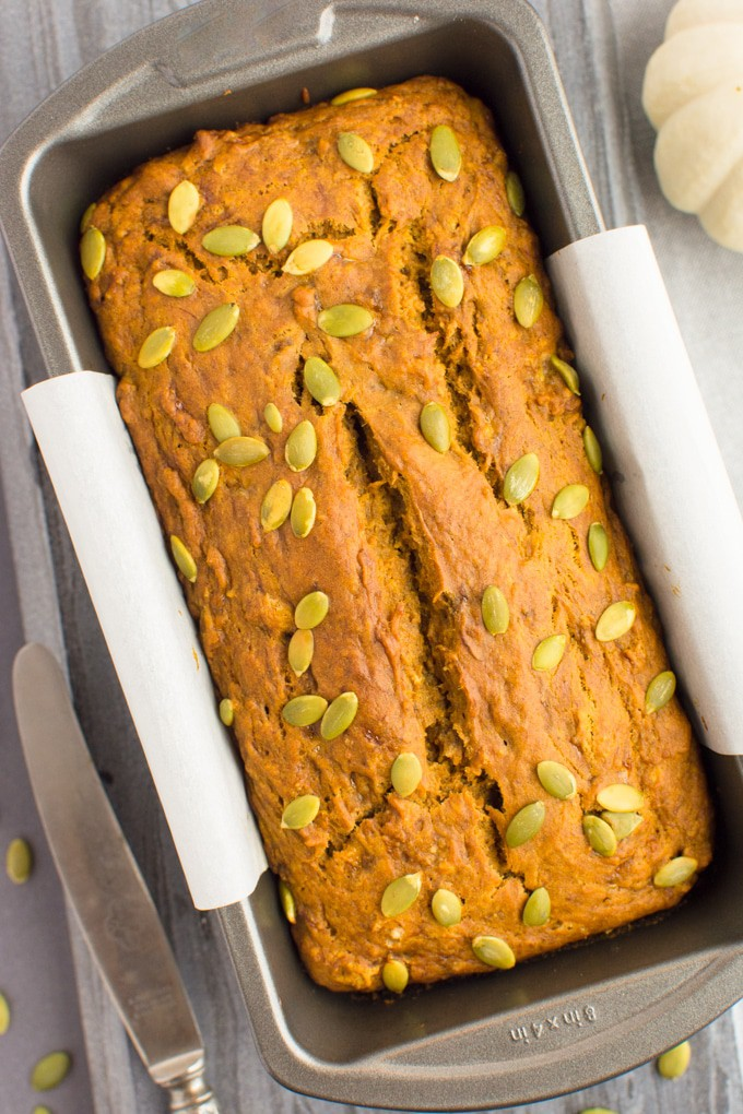 Vegan Pumpkin Banana bread in the loaf pan.