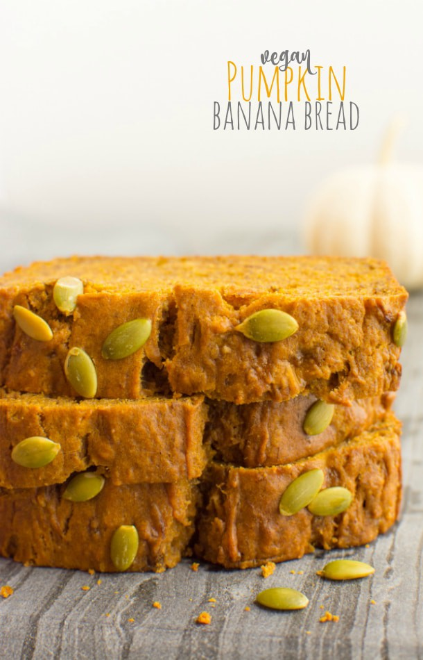 3 stacked slices of vegan pumpkin banana bread pin for pinterest.