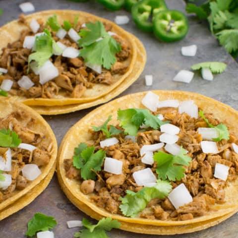 Vegan Street Tacos - 3 tacos filled with jackfruit.