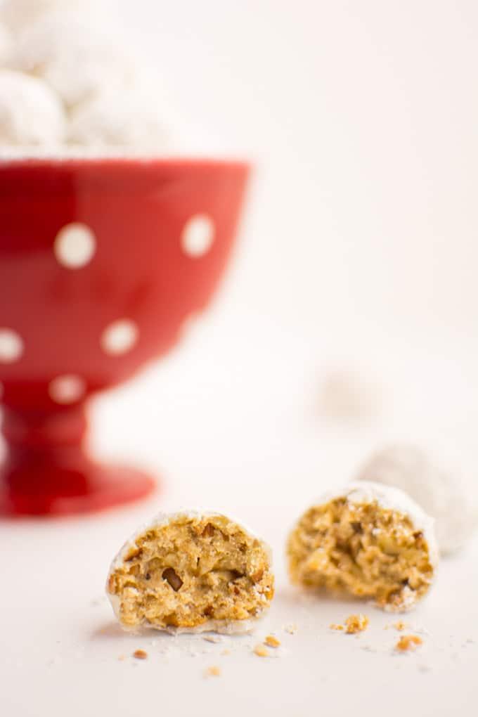 Vegan snowball cookies broken open.