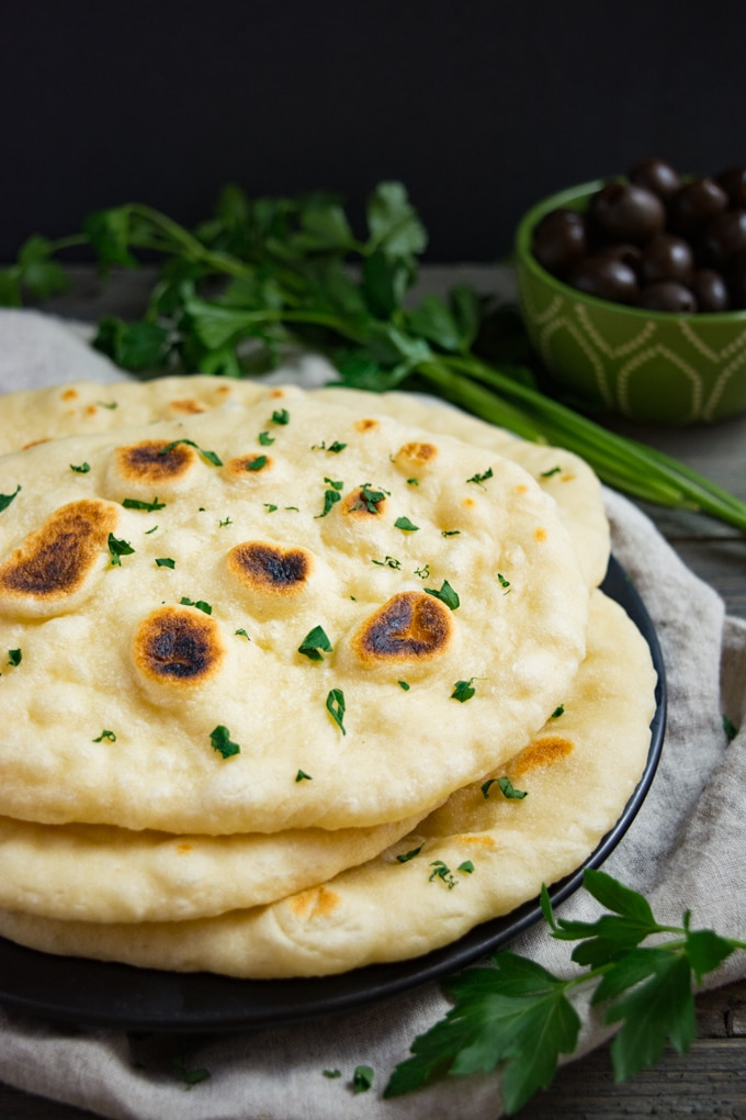 Fresh vegan naan bread