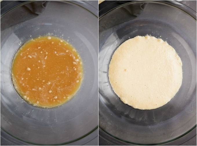 A collage of steps of yeast activating for vegan naan bread.