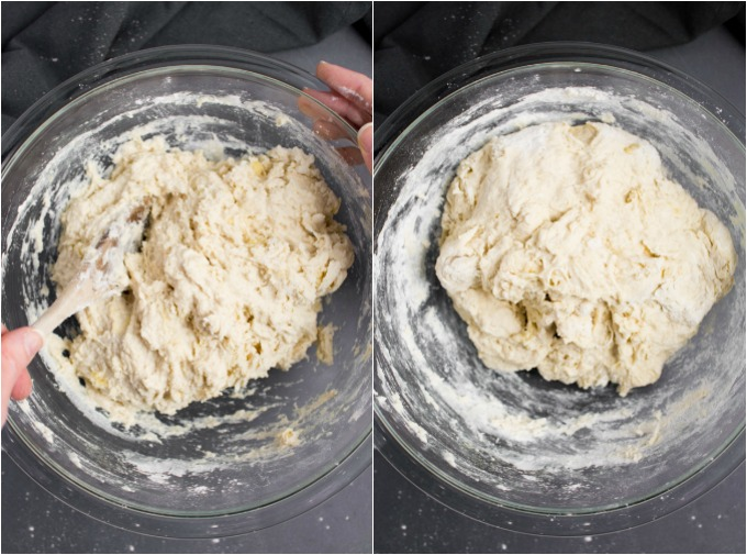 A collage of steps mixing the dough for vegan naan bread.