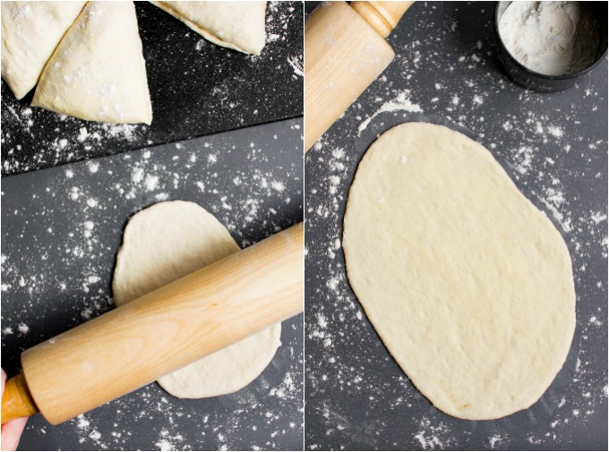 Vegan naan bread collage of steps to rolling out the dough.