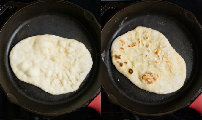 Collage of steps to cooking vegan naan bread.