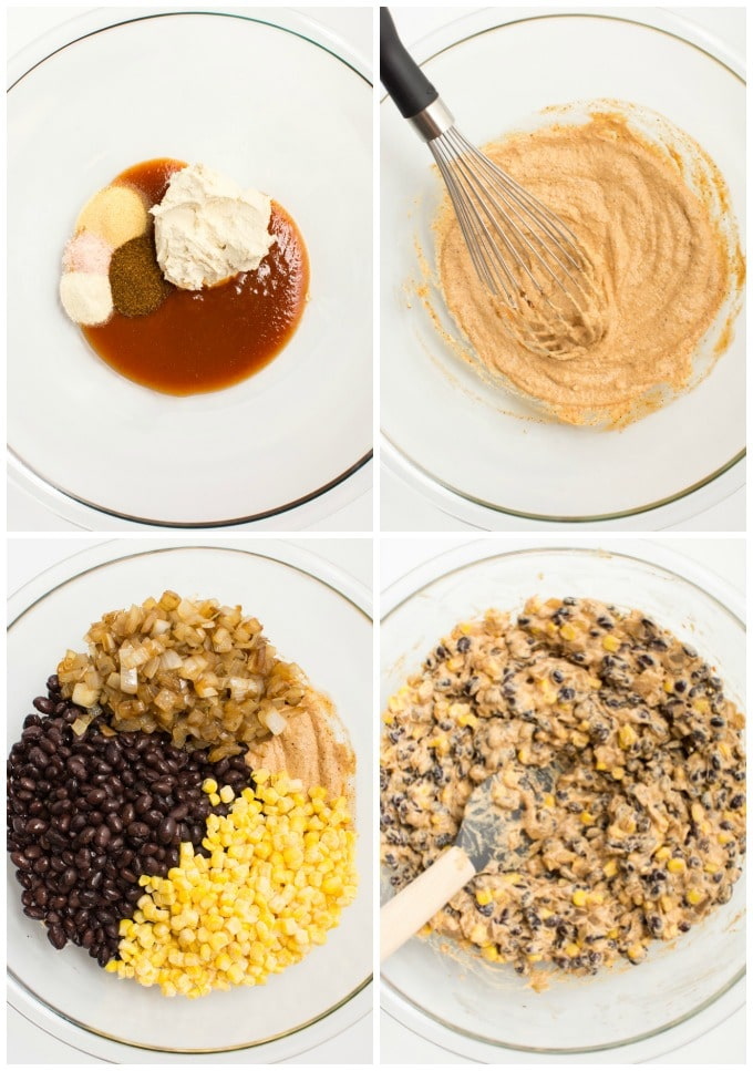 Collage of steps for mixing the enchilada cashew cream cheese sauce and black bean filling.