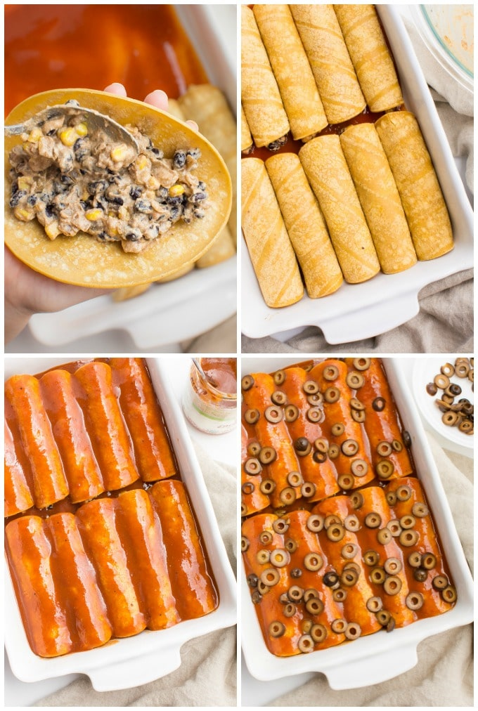 Collage of steps for filling and assembling the black bean enchiladas.