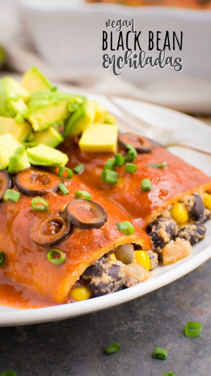 Vegan black bean enchiladas are an easy dinner any night of the week. The bean filling is mixed with an enchilada cream cheese sauce for a satisfying, creamy center. Pair these meatless enchiladas with your favorite Mexican sides to complete the meal. Their authentic flavor makes them a hit with the family! #meatless #vegandinner #blackbeans #enchiladas #vegan #dairyfreerecipes