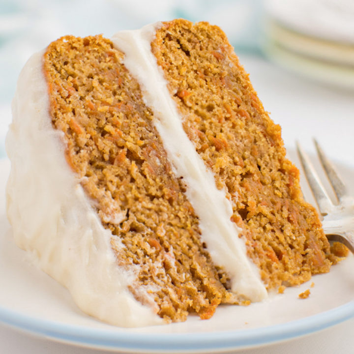 A slice of 2 layer carrot cake.