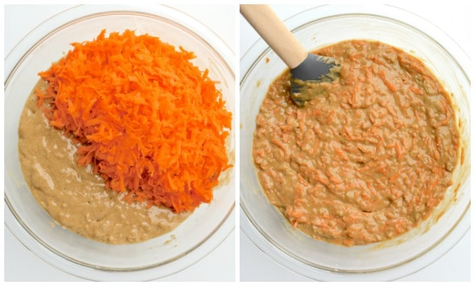 Collage of steps 2: Carrot cake batter with shredded carrots being folded in.