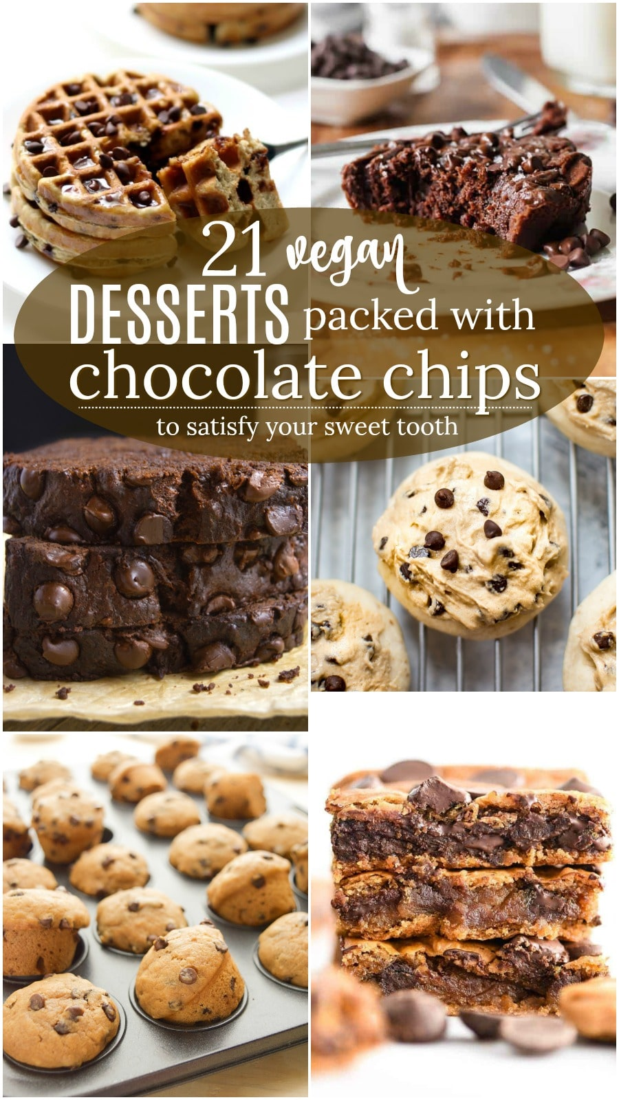 Vegan Chocolate Chip Desserts collage for Pinterest.