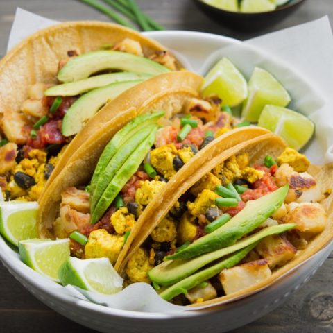 Vegan Breakfast Tacos w/ Potatoes and Tofu Scramble