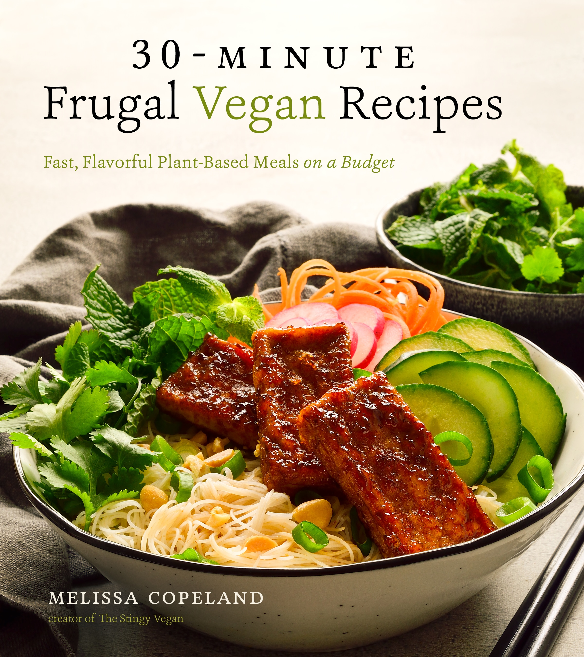 30-minute Frugal Vegan Recipes by Melissa Copeland book cover.
