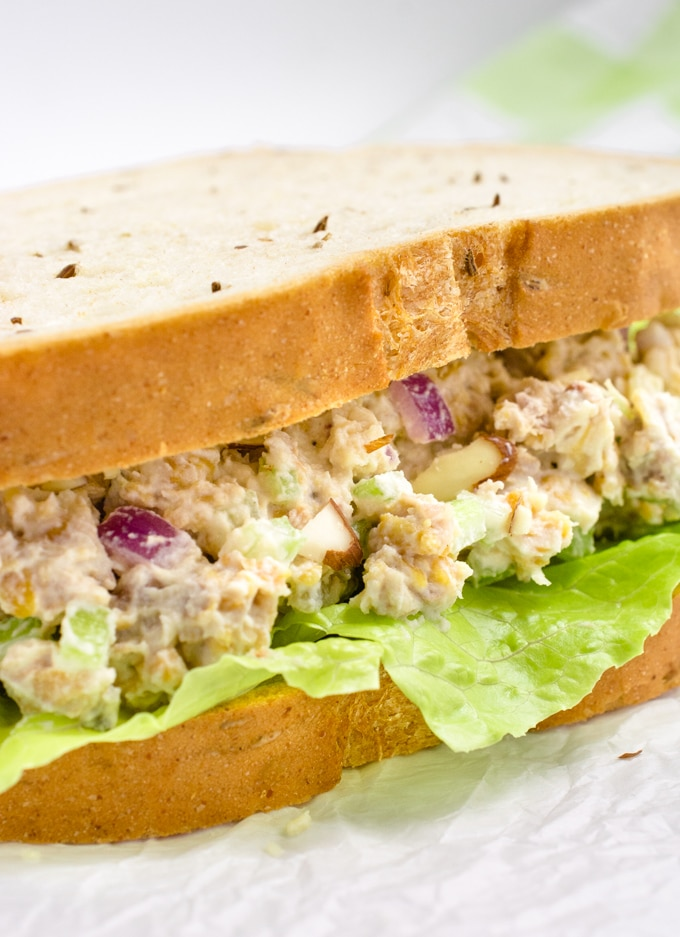 Vegan chicken salad sandwich close up.