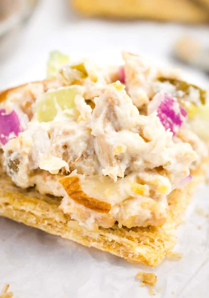 Vegan chicken salad on a cracker.