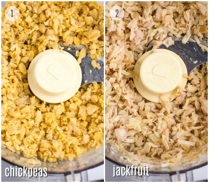 Collage of steps: chickpeas and jackfruit in a food processor after blending.
