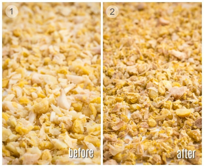 """Chickpea and jackfruit """"vegan chicken"""" mixture before and after baking."""