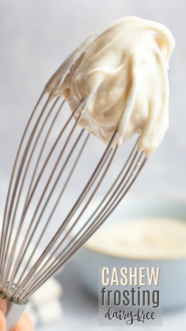 This vegan frosting is made with cashews, coconut oil, agave nectar, and a bit of powdered sugar for a delectable, dairy-fee frosting. Use it on cupcakes or frost your favorite layered cake with this rich and creamy cashew frosting. Vegan recipe include both vanilla and cream cheese flavors. #veganfrosting #vegandessert #cashews #vegancake #agavenectar #cashewfrosting