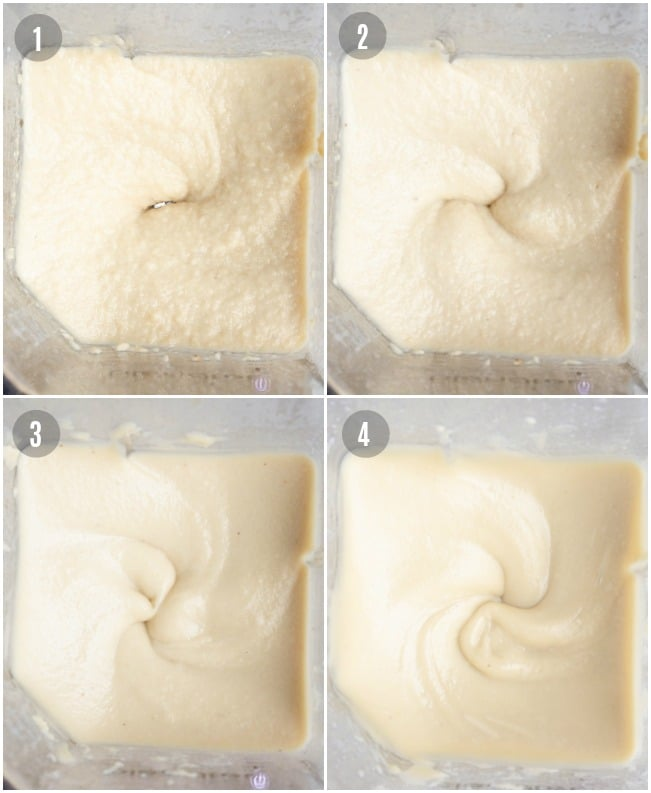 Blending process of cashew frosting going from grainy to smooth.
