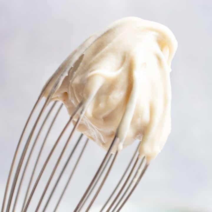 vegan frosting on a whisk.