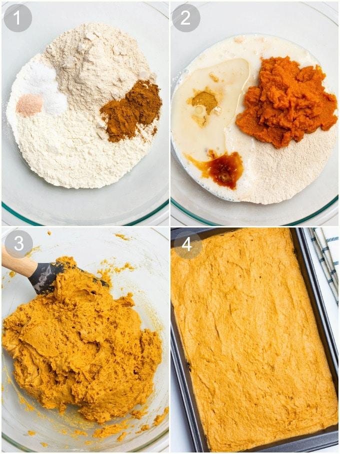 Process steps for making pumpkin cake batter.