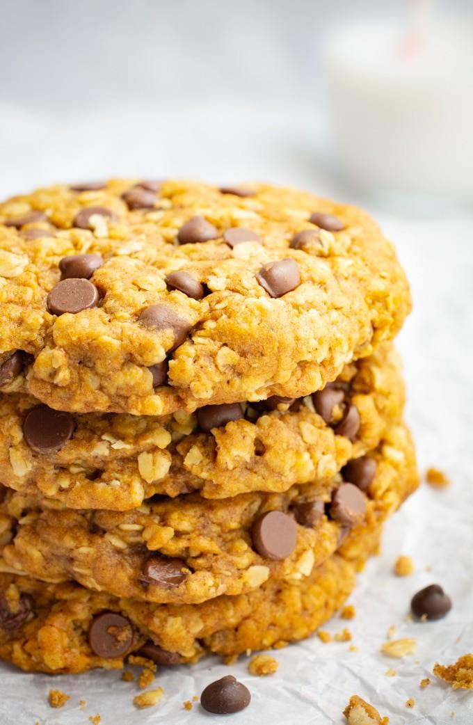 Vegan pumpkin oatmeal cookies and non-dairy milk.