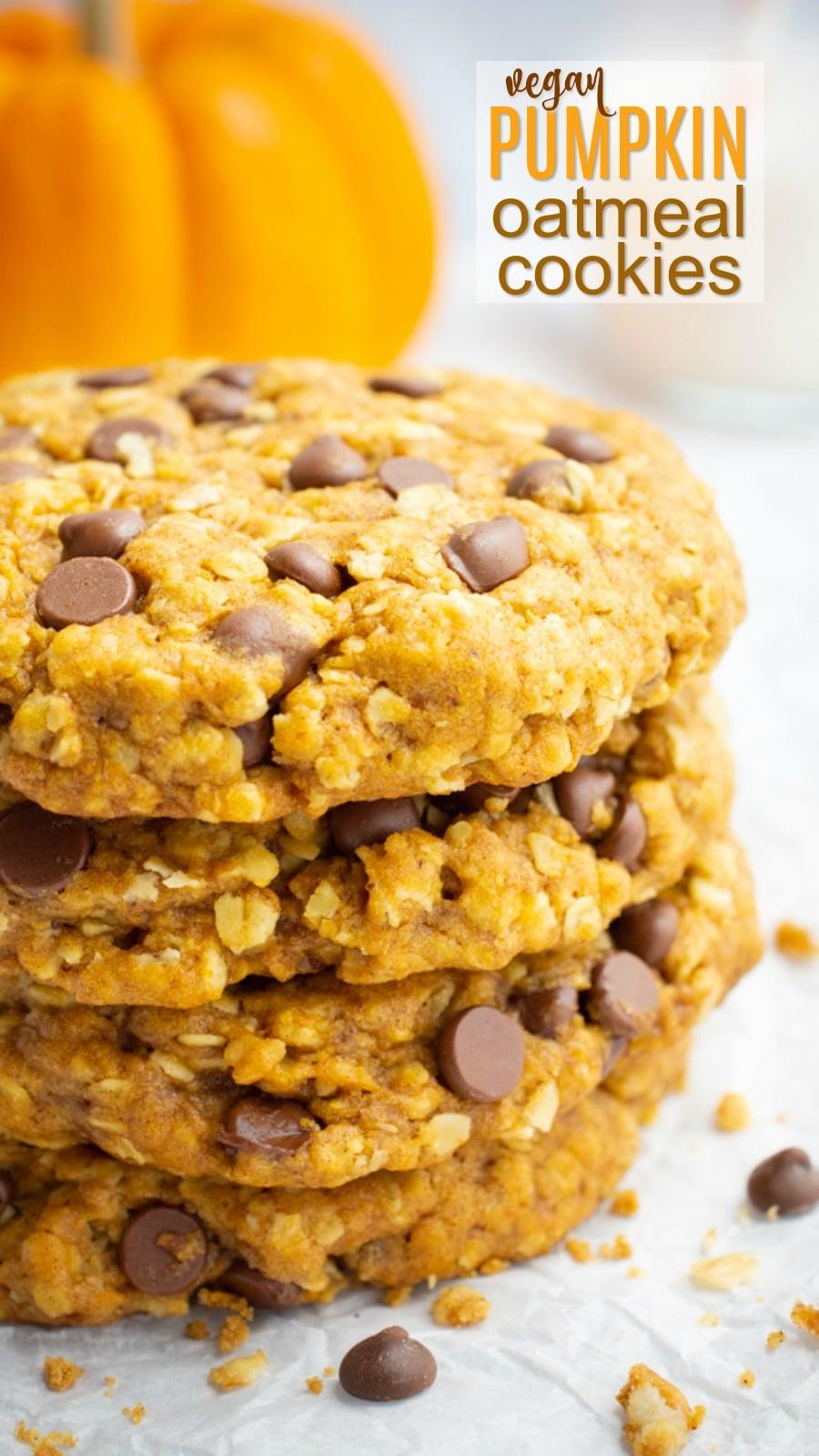 Vegan pumpkin oatmeal cookies for Pinterest.