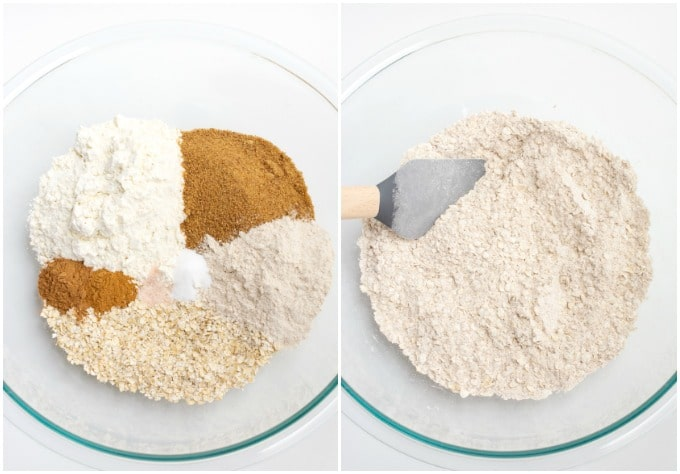 Process of mixing the dry ingredients for vegan oatmeal cookies.