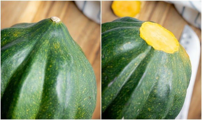 Steps on how to cut the point off the bottom off an acorn squash.