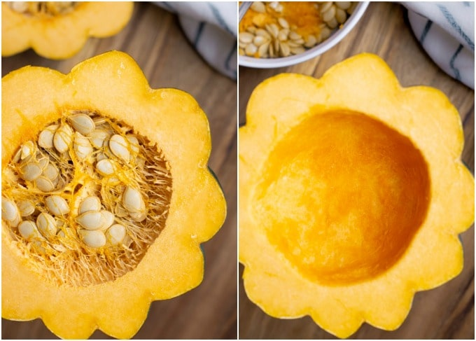 Steps on removing acorn squash seeds.