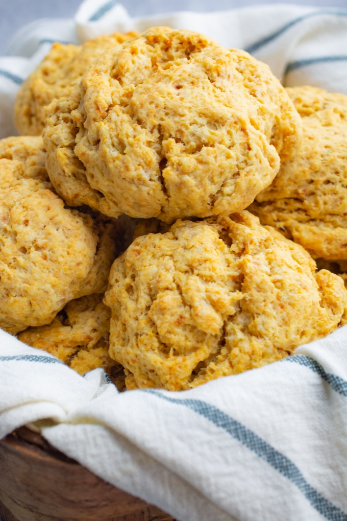 Vegan sweet potato drop biscuits.