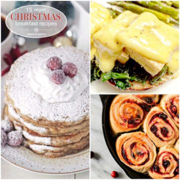 A collage of vegan christmas breakfast recipes.