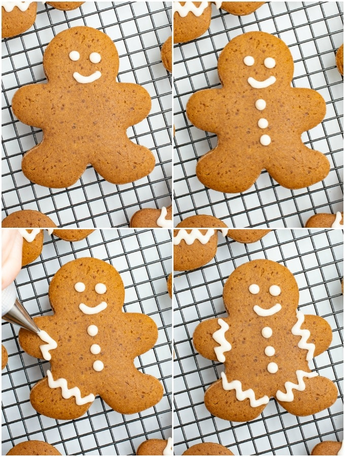 Process steps for decorating gingerbread cookies.