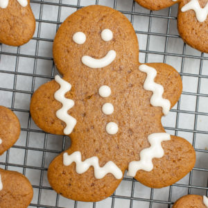 Vegan gingerbread man decorated with icing.