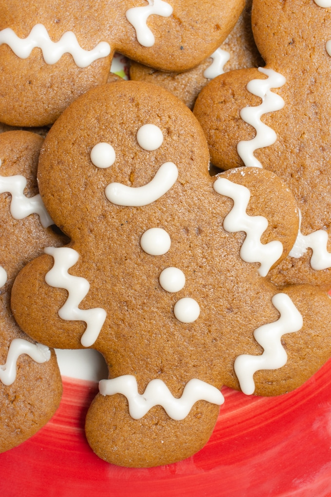 Cute gingerbread cookie on a plate.