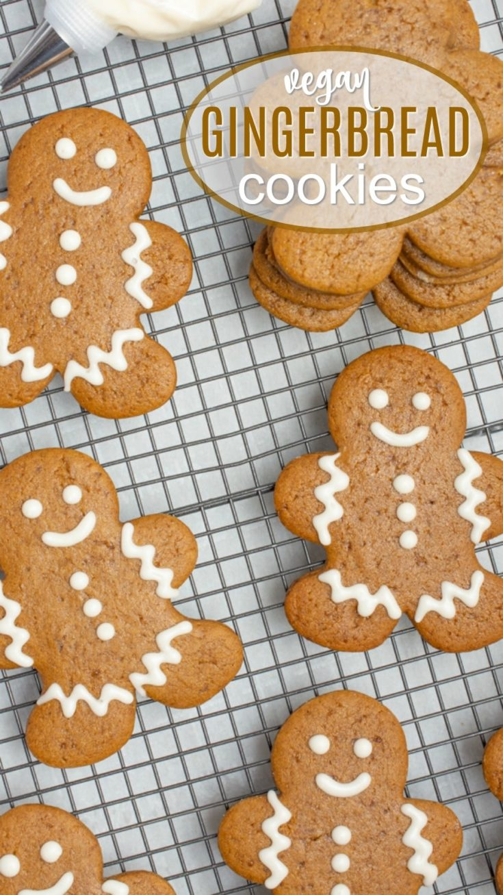 These vegan gingerbread cookies come together with simple ingredients, they're easy-to-make, and require NO chill time! Add these cute lil' guys to your holiday cookie tins, or spend an evening with the kids decorating gingerbread men. You won't be able to resist their Christmas charm! #vegancookies #vegan #gingerbreadcookies #gingerbreadmen #holidaycookies #christmas #christmascookies
