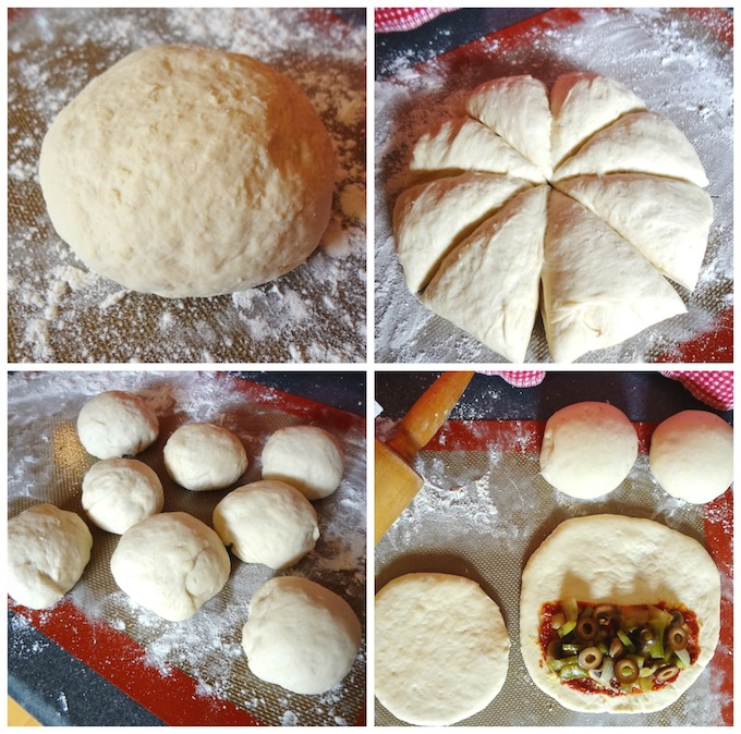 Process for filling pizza pockets.