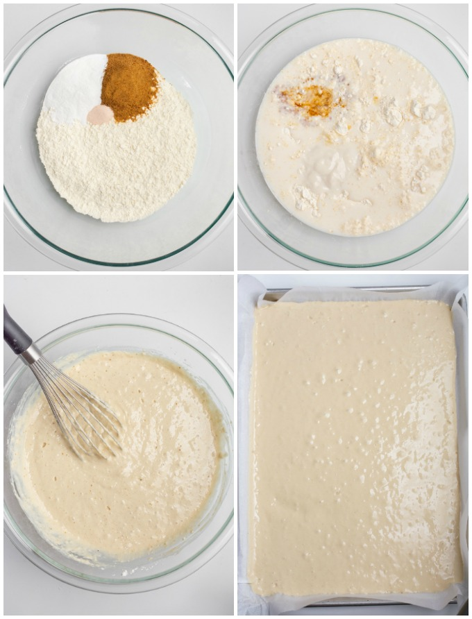 Collage of steps for mixing pancake batter.