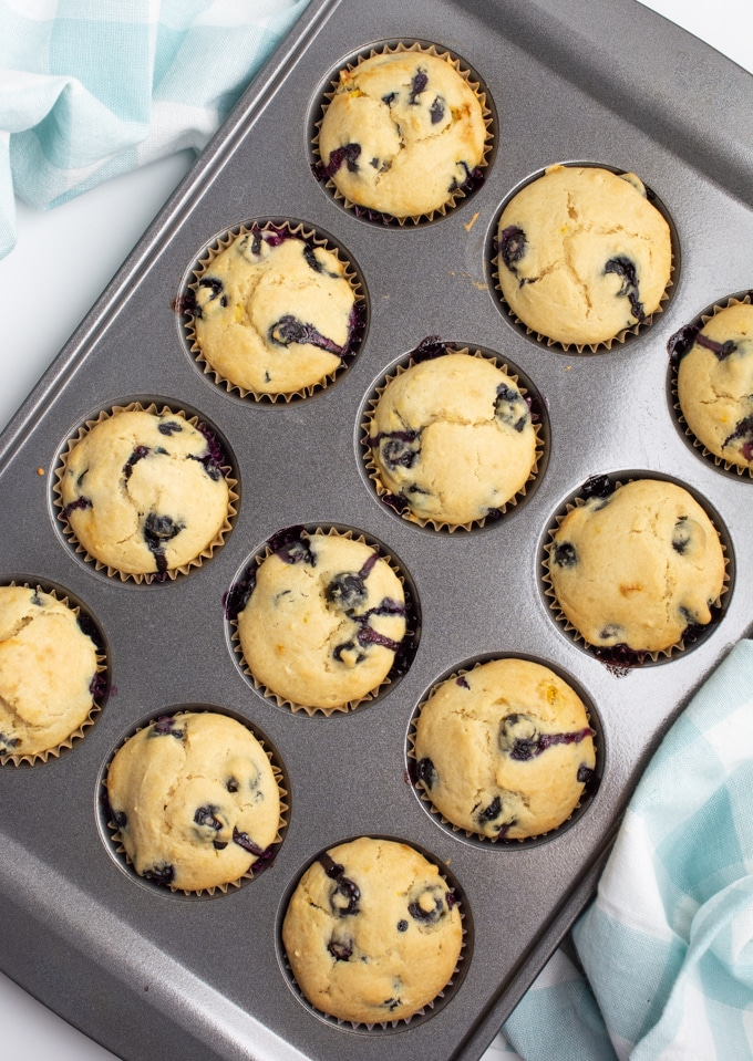 Freshly baked blueberry muffins in a muffin tin.