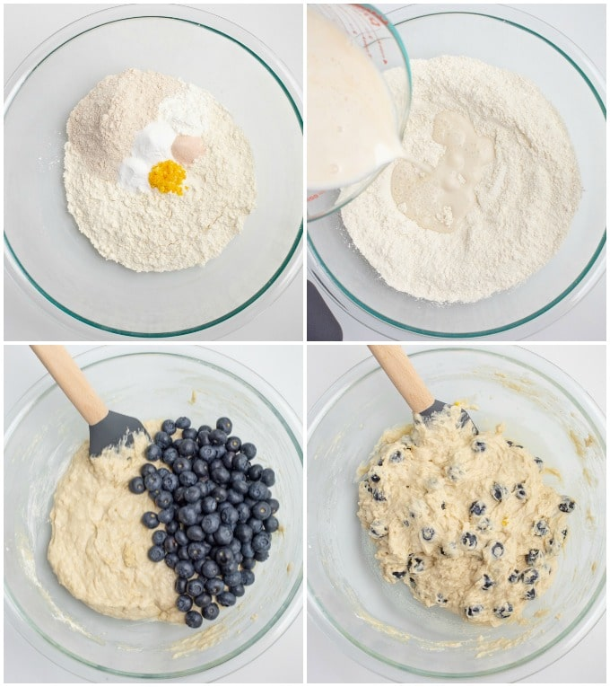 Process steps to make blueberry muffin batter.