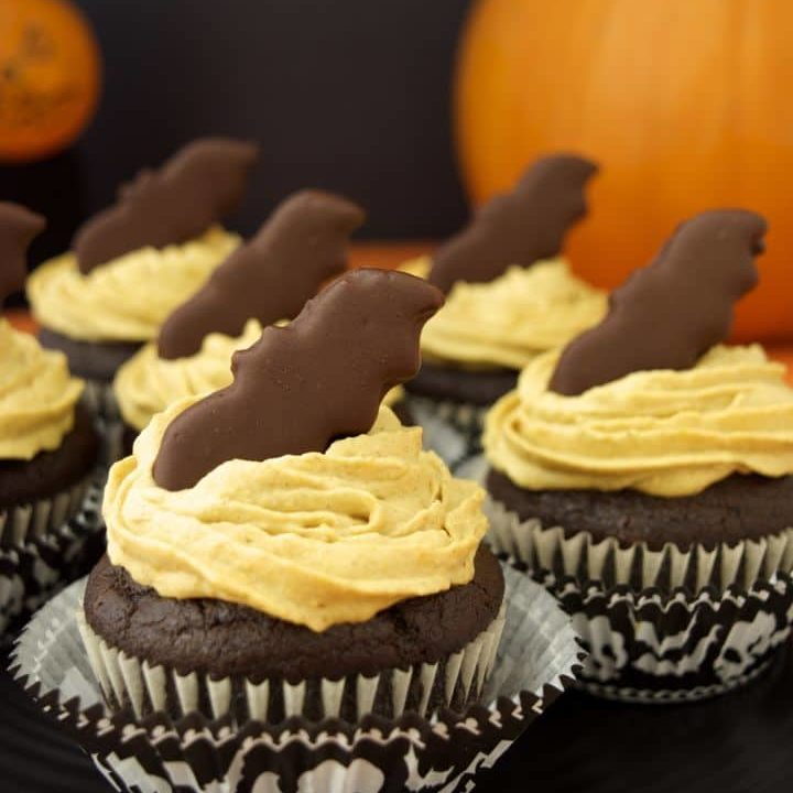 Pumpkin Frosted Chocolate Cupcakes with Bat Bites