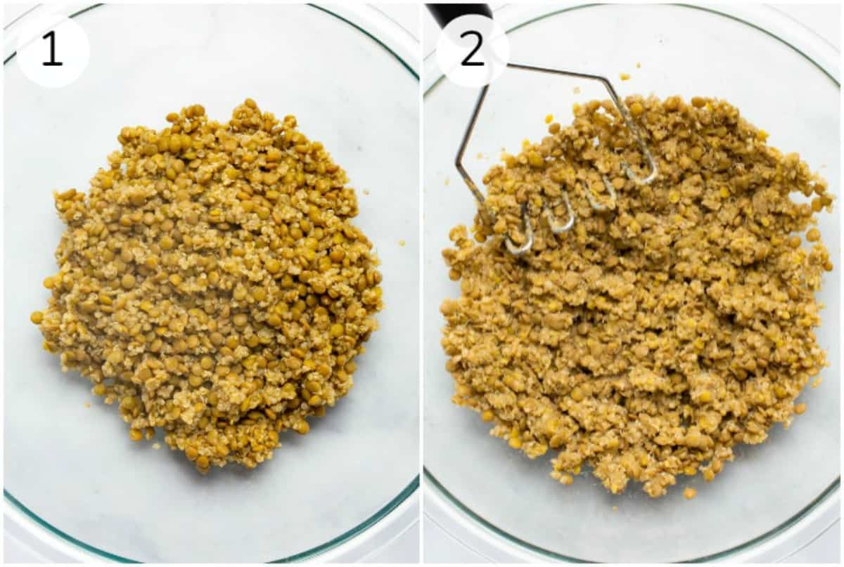 Collage of cooked lentils before and after mashing.
