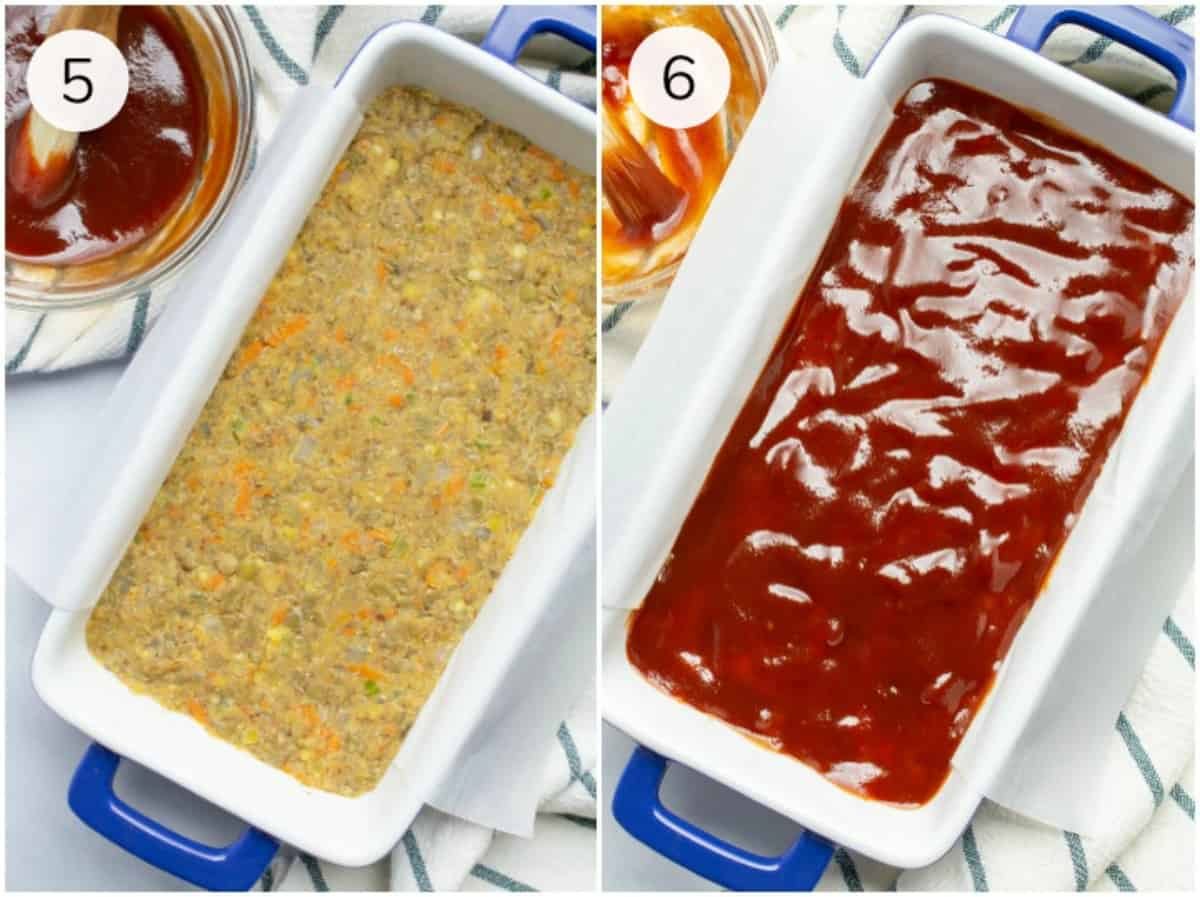 Collage of precooked vegan meatloaf before and after it's topped with glaze.