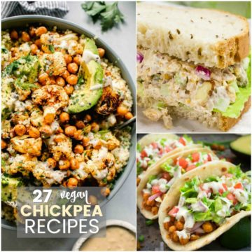 A collage of chickpea recipes.